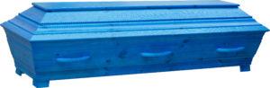 Nobel, kornblå massiv furukista med en vacker repdekor på locket.